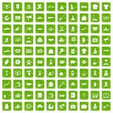 100 charity icons set grunge green Royalty Free Stock Image