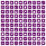 100 charity icons set grunge purple. 100 charity icons set in grunge style purple color isolated on white background vector illustration Royalty Free Illustration