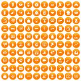 100 charity icons set orange. 100 charity icons set in orange circle isolated on white vector illustration stock illustration