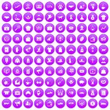 100 charity icons set purple. 100 charity icons set in purple circle isolated on white vector illustration royalty free illustration