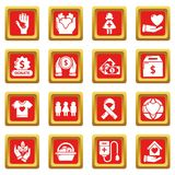 Charity icons set red square vector Stock Photo