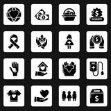 Charity icons set, simple style. Charity icons set. Simple illustration of 16 charity vector icons for web royalty free illustration