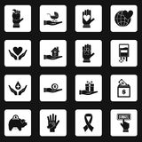 Charity icons set squares vector Royalty Free Stock Photo