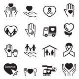 Charity icons Set. Vector Illustration Graphic Design royalty free illustration