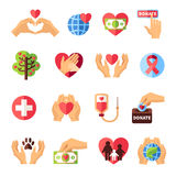 Charity Icons Set Stock Images