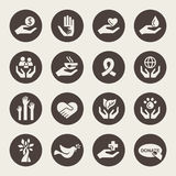 Charity icons. Charity theme icon set stock illustration