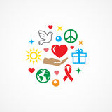 Charity illustration with icons Royalty Free Stock Photo