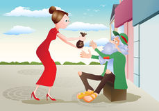 Charity. Illustration of a lady give money to hungry beggar Homeless man on city background Royalty Free Stock Photo