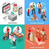 Charity Isometric 2x2 Design Concept. Charity donation for needy adults children and animals isometric 2x2 design concept isolated on colorful backgrounds vector Stock Photography