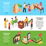 Charity Isometric Horizontal Banners. Charity horizontal banners set of donation center people ready to help and donation online isometric compositions vector royalty free illustration