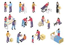 Volunteering And Charity Isometric Set. Charity isometric set with volunteers involved in social support and medical care to diseased elderly and homeless people Royalty Free Stock Image