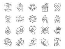 Free Charity Line Icon Set. Included Icons As Kind, Care, Help, Share, Good, Support And More. Stock Images - 150636494