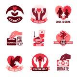 Charity Logo Emblems Set Stock Photography