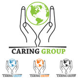 Charity Logo. World map ,hand,people symbol royalty free illustration