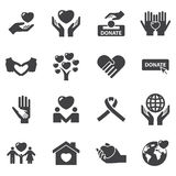 Charity and love icons. Silhouette black symbol set royalty free illustration