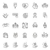 Charity - modern vector line design icons and pictograms set. Stock Image