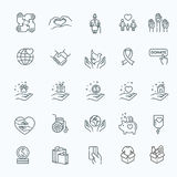 Charity - modern vector line design icons and pictograms set. Royalty Free Stock Photography
