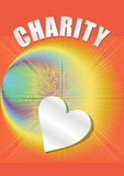 Charity poster in with paper heart and rainbow rays on orange background, Royalty Free Stock Photo