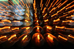 Charity. Praying candles in a monastery in Bhutan. stock photo