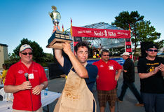 Charity rib eating contest winner. Royalty Free Stock Images