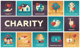 Charity - set of flat design infographics elements Stock Photos