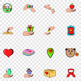 Charity set icons. In hand drawn style on transparent background Stock Photos