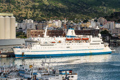Charity ship berthed at Port Louis, Mauritius Royalty Free Stock Images