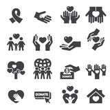 Charity Silhouette icons Royalty Free Stock Photos