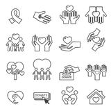 Charity Silhouette icons Stock Photo