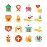 Charity, social help, money donate, nonprofit funding, generous hands vector icons Stock Photography