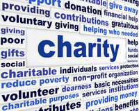 Charity social issue message. Voluntary giving creative words design Stock Photo