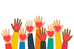 Free Charity, Volunteering And Donating Concept. Raised Up Human Hands With Red Hearts. Children`s Hands Are Holding Heart Stock Image - 164159691