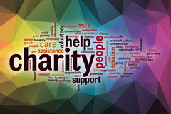 Charity word cloud with abstract background Royalty Free Stock Image