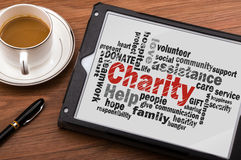 Charity word cloud. Charity concept with related words Royalty Free Stock Images