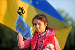 CHARKIW, UKRAINE - 18. MAI: Eine Sitzung zum Gedenken an Opfer des Genozids von Krim-Tataren anlässlich des 72. anniversar Lizenzfreie Stockfotos