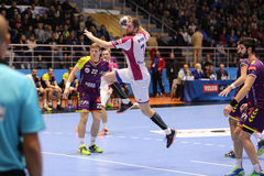 CHARKIW, UKRAINE - 22. SEPTEMBER: Die Meister-Ligaspiel EHF-Männer zwischen HC-Motor Zaporozhye und HBC Nantes Lizenzfreie Stockfotografie