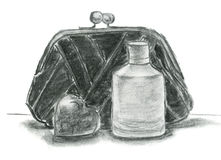 Charkoal sketch with clutch, bottle of parfume and heart. Royalty Free Stock Image