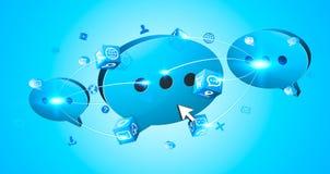 Charla azul de la burbuja con los iconos modernos Fotografía de archivo
