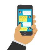 Charla con el chatbot en el teléfono ilustración del vector