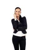 Charla de la empresaria sobre el teléfono Imagen de archivo