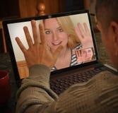 Charla de la gente de la cámara de vídeo de la computadora portátil Imagen de archivo
