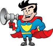 Charla del superhéroe en megáfono Foto de archivo libre de regalías