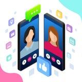 Charla móvil isométrica del mensajero, conversación en línea con el mensaje que manda un SMS Ilustración del vector Foto de archivo libre de regalías