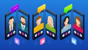 Charla móvil isométrica del mensajero, conversación en línea con el mensaje que manda un SMS Ilustración del vector Foto de archivo