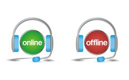 Charla off-line en línea, ayuda, icono de la ayuda Fotografía de archivo libre de regalías
