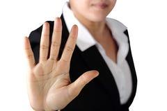 Charla seria de la muestra de la parada de las demostraciones de la mujer del político al gesto de mano fotografía de archivo