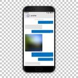 Charle al mensajero en la pantalla del teléfono, ejemplo del vector Alta maqueta detallada del smartphone del negro de la calidad libre illustration