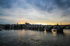 Charle Bridge. Main spot of Charle bridge at Prague in sunset time Stock Photos