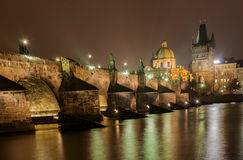 The Charle Bridge Prague at Night Royalty Free Stock Images