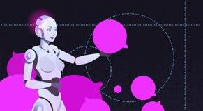 Charle el bot usando burbujas, la ayuda virtual del robot de la mujer del sitio web o aplicaciones móviles, inteligencia artifici Imagen de archivo